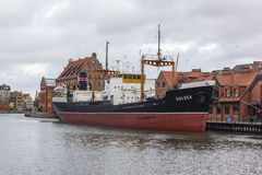 Historic Polish merchant ship Soldek moored on the river Motlawa, Poland Stock Photos