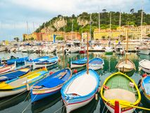 Historic port area of Nice. Fishing boats in the Port of Nice, France stock photography