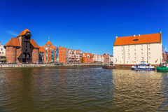 Historic port crane at Motlawa river in Gdansk Royalty Free Stock Images