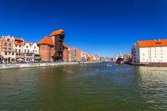 Historic port crane at Motlawa river in Gdansk Royalty Free Stock Image