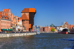 Historic port crane at Motlawa river in Gdansk Royalty Free Stock Photos