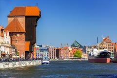 Historic port crane at Motlawa river in Gdansk Stock Image