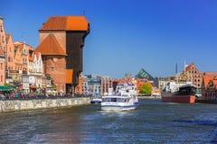 Historic port crane at Motlawa river in Gdansk Stock Photo