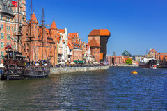 Historic port crane at Motlawa river in Gdansk Stock Photography