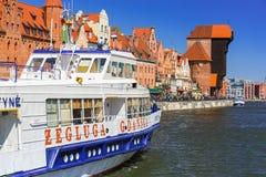 Historic port crane at Motlawa river in Gdansk Royalty Free Stock Photo
