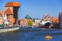Historic port crane at Motlawa river in Gdansk Royalty Free Stock Photography