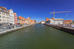 Historic port crane at Motlawa river in Gdansk Stock Photos