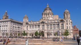 The Port of Liverpool Building, England. The historic Port of Liverpool Building on Pier Head is one of three buildings commonly referred to as `The Three Graces Royalty Free Stock Image