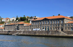 Historic Port Wine Warehouse. A view of a historic port wine warehouse made of stone nestled along the Douro River in Porto Portugal Royalty Free Stock Image
