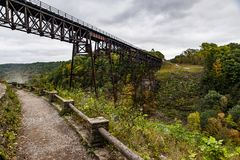 Historic Portage Bridge - Portage River - Letchworth State Park - Livingston & Wyoming County, New York Royalty Free Stock Images