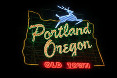 Historic Portland Oregon Old Town Sign Stock Images