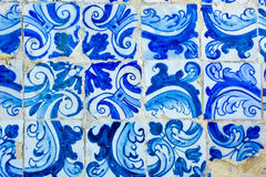 Historic Portuguese blue and white mosaic tiles decoration Royalty Free Stock Images