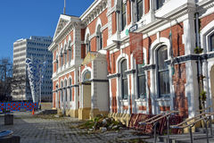 Historic Post Office Building in Cathedral Square awaits Restora stock photography