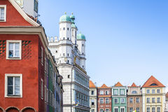 Historic Poznan City Hall and colorful buildings Royalty Free Stock Photo