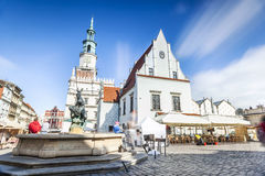 Historic Poznan City Hall located in the middle of a main square Stock Photos