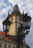 Historic Prague. The view on the Old Town Hall on the Old Town Square in Prague, Czech Republic Royalty Free Stock Photos
