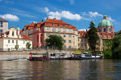 Historic Prague Riverside Royalty Free Stock Photography