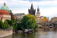 Historic Prague Riverside Royalty Free Stock Images