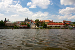 Historic Prague Riverside Stock Photo