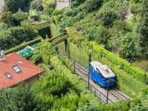 The historic public funicular i Bergamo Stock Images