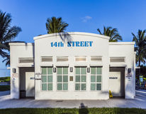 Historic public restroom in art deco style at ocean drive Royalty Free Stock Image