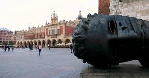 Historic quarter of Krakow, Poland - Main Market Square - Cloth Hall - Sukiennice stock footage
