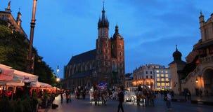 Historic quarter of Krakow, Poland - Main Market Square - St. Mary Church stock video