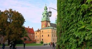 Historic quarter of Krakow, Poland - Wawel Royal Castle – Wawel Cathedral stock video footage