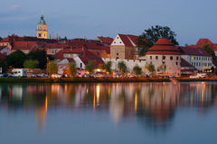 Historic Quarter Lent, Maribor, Slovenia. Judgement Tower (Sodni Stolp) and Puppet Theater (former Minorite Monastery) in historic quarter Lent at riverside with Stock Image