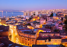 The historic quarter of Valparaíso, by night. Royalty Free Stock Image