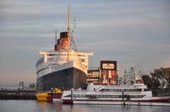 Historic Queen Mary in Long Beach, California. LONG BEACH, CALIFORNIA - DEC 15: Historic Queen Mary in Long Beach, California, on Dec 15, 2013. This 1936 ocean Royalty Free Stock Photos