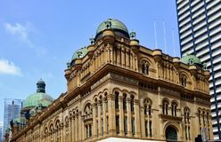 Historic Queen Victoria Building, Sydney, NSW, Australia. Patinated bronze clad domes on the historic Queen Victoria Building, George Street, Town Hall precinct royalty free stock photo