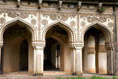 Historic Qutbshahi tombs verandah in Hyderabad Royalty Free Stock Images