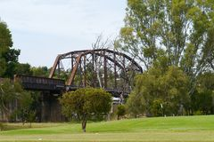 Historic rail bridge. The historic rail bridge over Murrumbidgee River in Gundagai in Australia royalty free stock photos