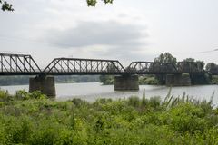 Historic railroad bridge Marietta Ohio royalty free stock images