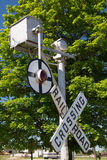 Historic Railroad Crossing. An old historic Railroad Crossing signal now on display in a small midwestern railroad museum Royalty Free Stock Photography