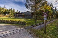 Historic railroad crossing ungated with german text and old fa Royalty Free Stock Photography