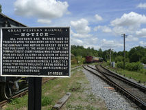 Historic railway with antique sign Royalty Free Stock Image