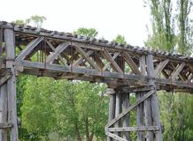 The historic railway bridge at Gundagai royalty free stock photos