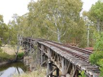 The historic railway bridge at Gundagai Stock Image