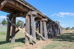 The historic railway trestle bridge at Winters Flat, near Castle. Maine, in Australia, crosses over Campbells Creek royalty free stock images