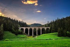 Historic railway viaduct near Telgart in Slovakia Royalty Free Stock Images