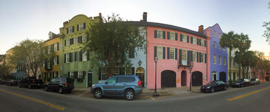 Historic Rainbow Row, Charleston, SC. Colorful historic homes line East Bay Street in Charleston, SC, known as Rainbow Row Royalty Free Stock Photo