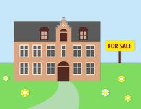 Historic Real Estate For Sale. Old building with grey slate roof and warm toned walls; garden with flowers; blue sky and yellow `for sale` sign royalty free illustration
