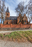 The historic red brick church and cemetery Royalty Free Stock Image