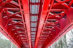 Historic red railroad bridge Stock Photo