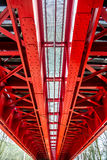 Historic red railroad bridge in Bratislava Stock Photo