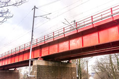 Historic red railroad bridge in Bratislava Stock Photos
