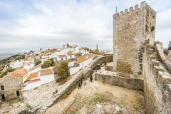 Historic town of Monsaraz located on the hill in Alentejo, Portu. Historic red roofed Monsaraz located on the hill in Alentejo, Portugal Royalty Free Stock Images