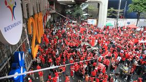 Historic Red Shirts Protest in Center of Bangkok, Thailand - 19th Nov 2010 stock footage
